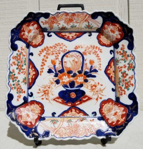 LATE 1800s ANTIQUE MEIJI JAPANESE IMARI PORCELAIN STONEWARE SQUARE PLATTER PLATE