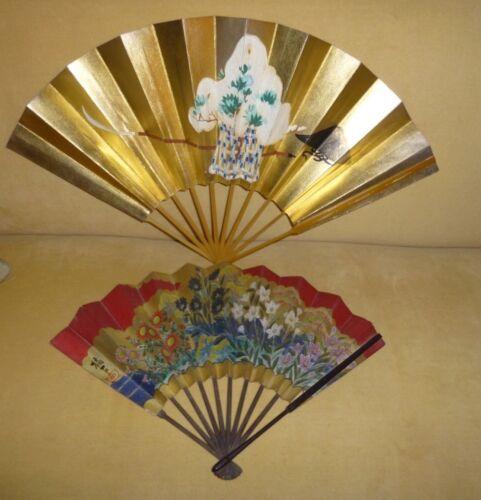 2 Vintage Japanese Noh Dancing Folding Fan Hand Painted Oogi Sensu Kakejiku