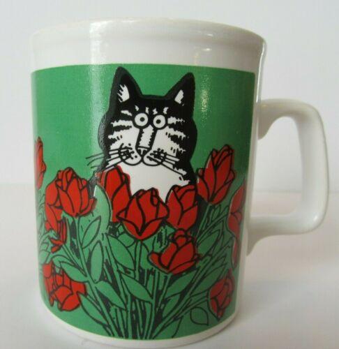 Kiln Craft B. Kilban Cat In Red Roses 1979 Mug