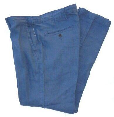 NEW men's ABERCROMBIE & FITCH navy linen flat front dress pants slacks 34 X 32