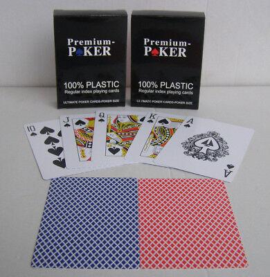 2 x Wasserfeste Premium Poker Spiel Karten kleiner Index 100%Plastik Pokerkarten