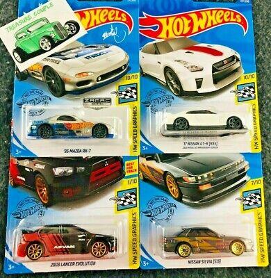 Hot Wheels - Lot of 4 - SPEED GRAPHICS - SKYLINE - Silvia - ZAMAC - Evo  E32