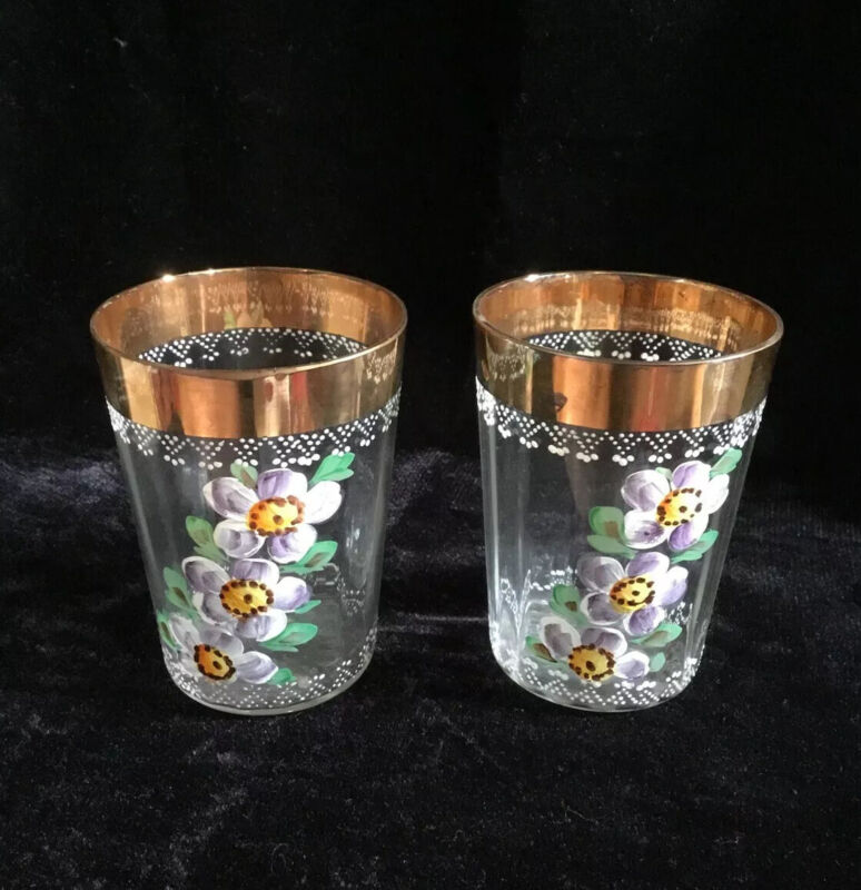 VICTORIAN HAND PAINTED FLOWERS~GOLD RIMMED DRINKING / WATER GLASS~SET OF TWO