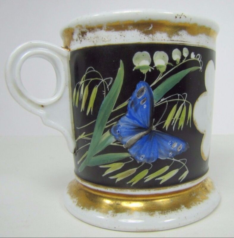 Antique BIRD BUTTERFLY FLOWERS Shaving Mug Occupational Decorative Arts