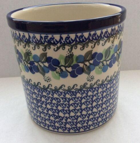 C.A. Polish Pottery Utensil Holder Jar-Blue Berries-NEW