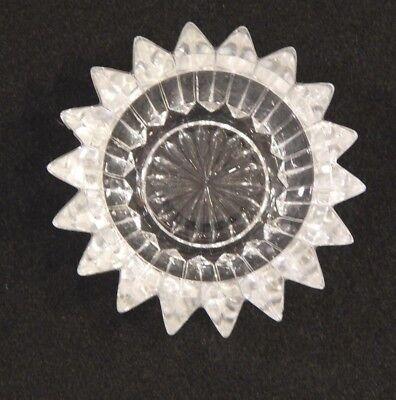 Open Salt Cellar Crystal Pressed Cut Glass Rays 18 Point Star  Rays Nut Dish