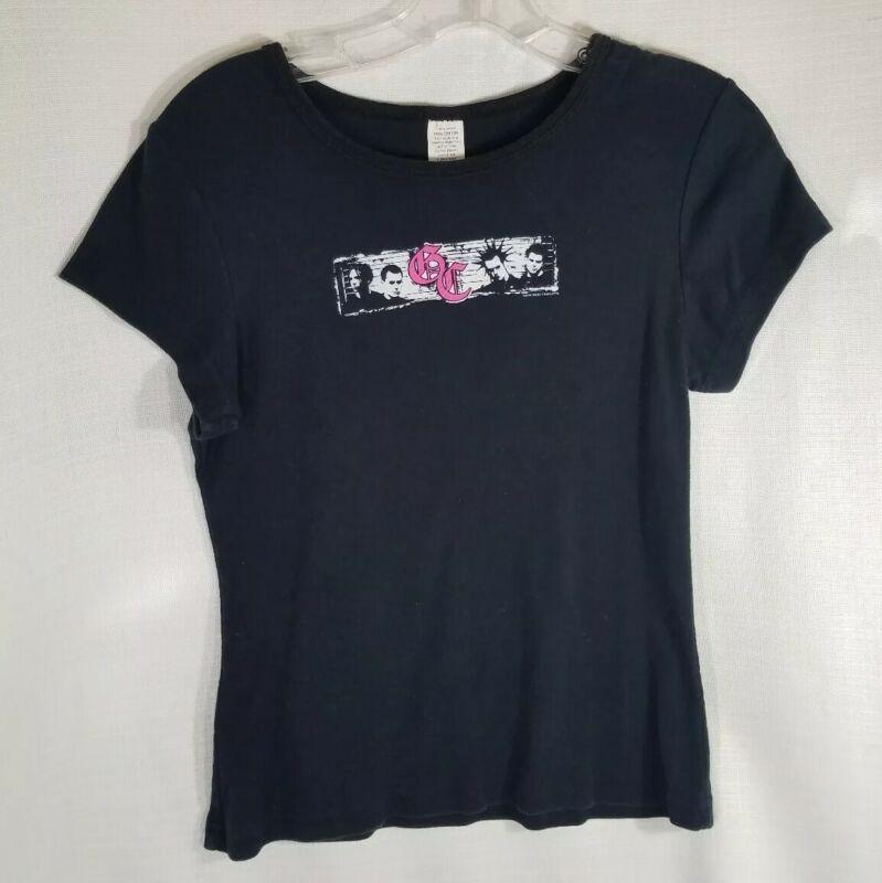 Good Charlotte Girls XL Black Cotton Short Sleeve T-shirt Pink/White Logo EUC