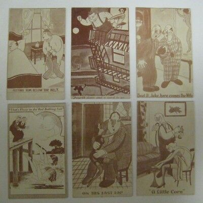 Vintage Lot of 6 Penny ARCADE EXHIBIT CARDS Comic Humorous Funny Blank Backside