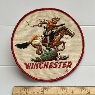 """Winchester Arms Firearms Horse and Rider 5"""" Round Embroidered Back Jacket Patch"""