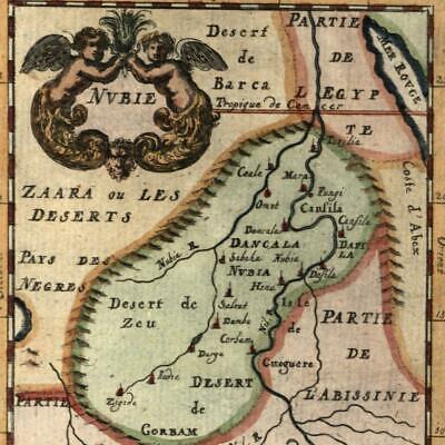 Africa Mts. Moon Nubia cherubs cartouche Mallet 1719 decorative hand color map