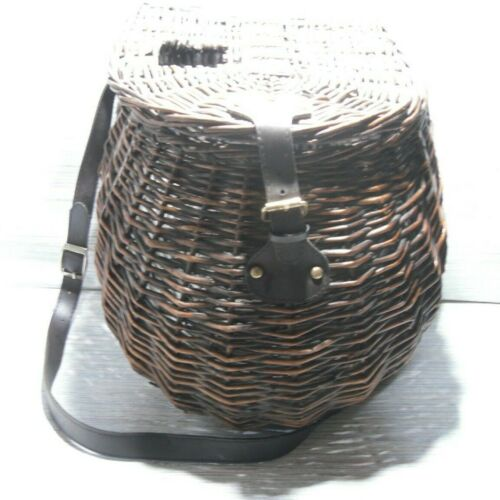 Vintage Wicker Fly Fishing Creel Basket With Leather Shoulder Strap