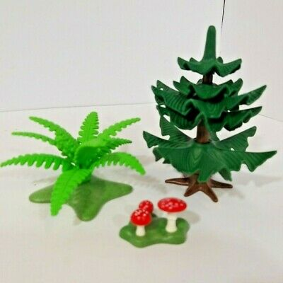 Playmobil Pine tree + Bush + Mushrooms - Forest, Farm Scenery