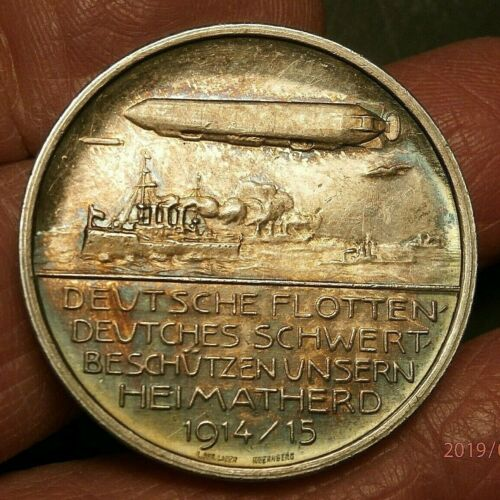 1914 ZEPPELINS AS PART OF THE NAVY / GERMAN FLEET; SILVER PROOF MEDAL S381A