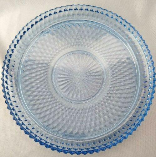 "VTG INDIANA GLASS BLUE ROUND DIAMOND POINT CAKE PLATE PLATTER 12"""