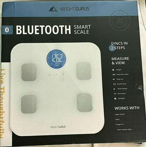 WEIGHT GURUS BLUETOOTH SMART SCALE Body Composition White SYNCS IN 2 STEPS