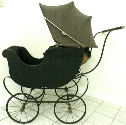 HEYWOOD-WAKEFIELD ANTIQUE BABY CARRIAGE STROLLER DOLL BUGGY WOOD LEATHER CANVAS