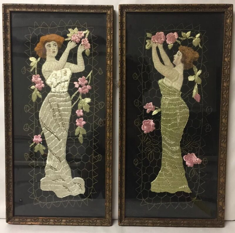 PAIR OF FRAMED ANTIQUE ART NOUVEAU WOMAN MAIDEN EMBROIDERY NEEDLEPOINT ARTWORK