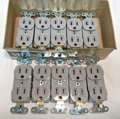 Box of (10) Slater 5252-AG-GY 15 Amp 125 Volt Duplex Receptacle Gray 5-15R