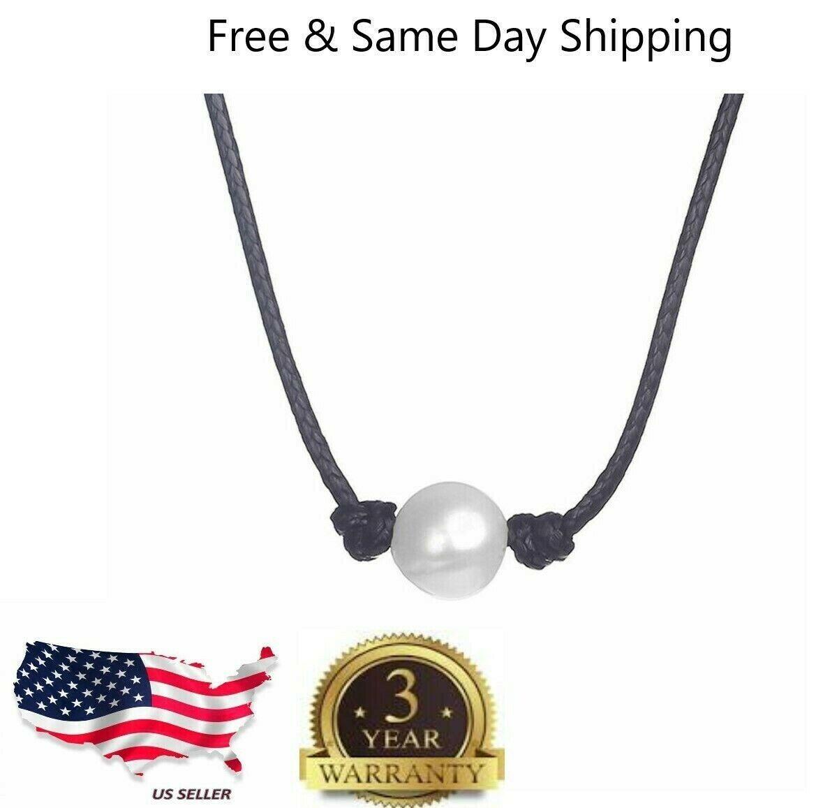 Jewellery - Women Pearl Necklace Genuine Leather Cord Choker Jewelry