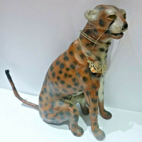 VTG Leather Covered w/ Glass Eyes Leopard / Cheetah  w/ Football Mom Neck Chain