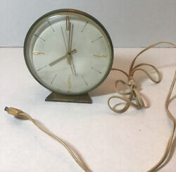 VTG General Electric Round  Desk Clock Gold Numbers Works