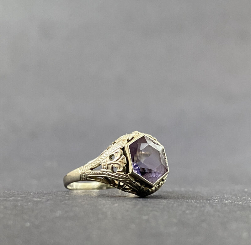 Antique Edwardian 14K Filigree White Gold & Amethyst Solitaire Engagement Ring