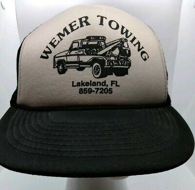 Lakeland Hat (WEMER TOWING Lakeland Florida Advertising Hat Cap Trucker Snapback Mesh Back )