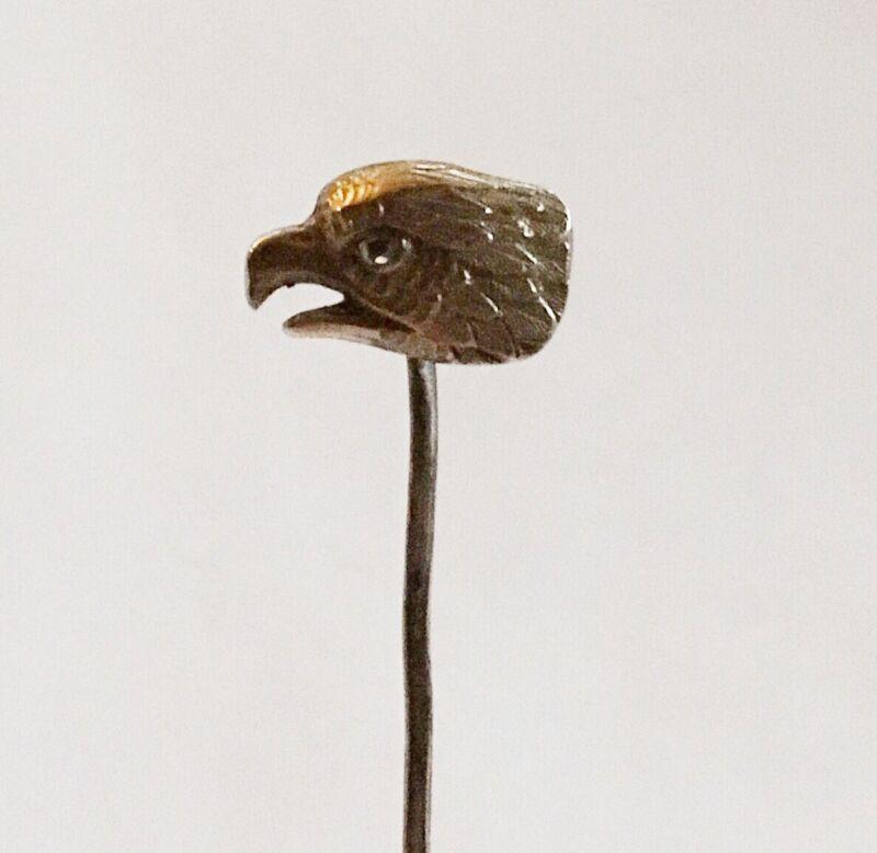 Antique Art Nouveau 14k Bird Head Stick Pin With Diamond Eye.