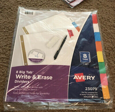 Avery Write Erase Big Tab Paper Dividers 8-tab Letter 072782230791