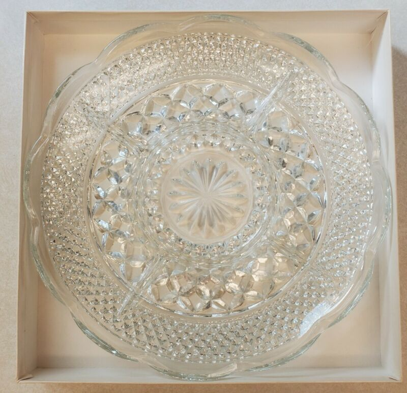 """Vintage Anchor Hocking Wexford 11"""" Divided Serving Tray Clear Glass Original Box"""