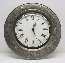 Vtg General Electric Ornate Metal Round Wall Clock Glass Face Western Germany