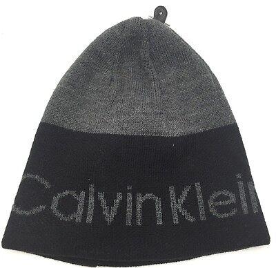 Calvin Klein Men's Reversible Logo Stripe Beanie Hat Black/Gray One Sz it/215 Reversible Stripe Beanie