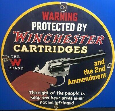 Winchester Porcelain Sign Advertising Second Ammendment