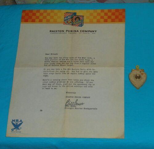 vintage Ralston Purina cereal premium TOM MIX COMPASS MAGNIFIER & LETTER lot