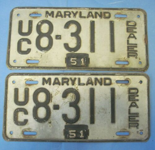 1948/51 Maryland Used Car Dealer License Plates matched pair
