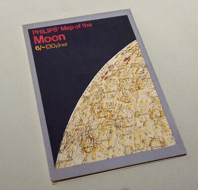 Philips Map of the Moon - Scarce - Elger Wilkins c.1969 - 1974 Atlas / Chart