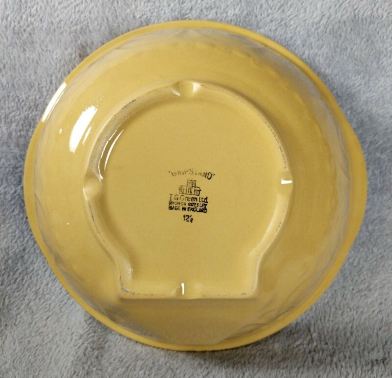 Vintage GRIPSTAND T.G. Green Yellow Ware Mixing Bowl England 12