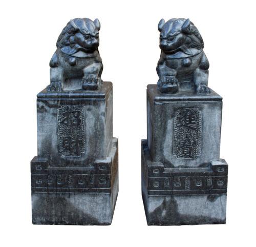 Chinese Pair Black Gray Stone Fengshui Pedestal Foo Dog Statues cs2394