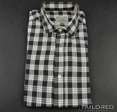 SALVATORE PICCOLO Gray White Plaid Check Cotton Mens Luxury Dress Shirt - 16.5
