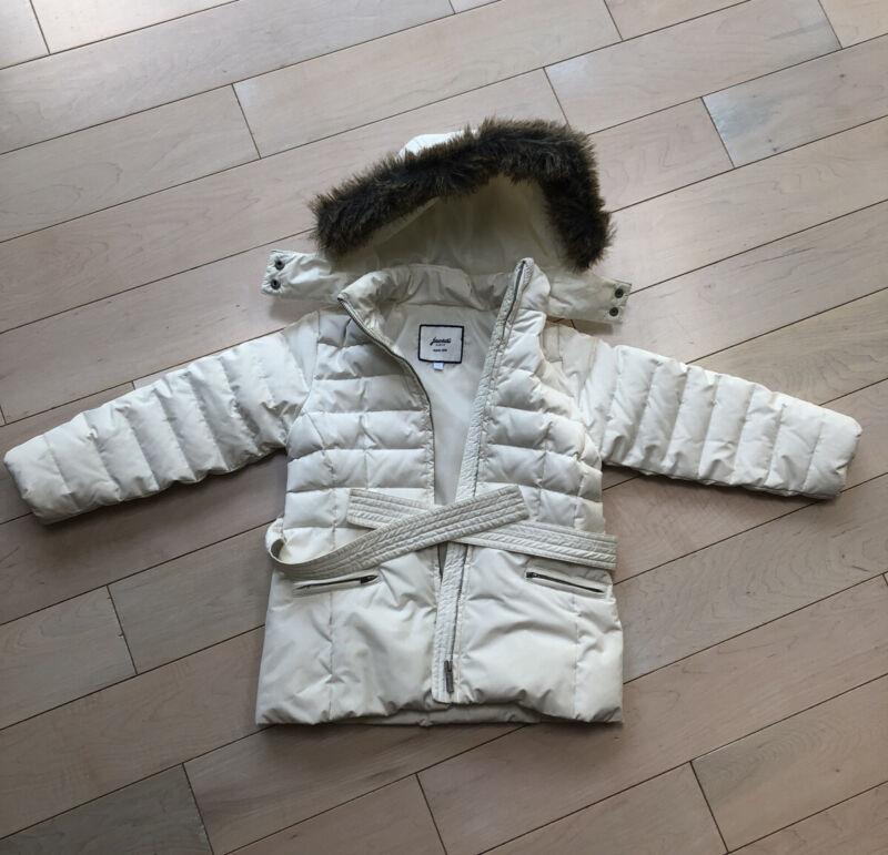 $269 Beautiful White Warm Down Jacadi girls winter jacket Parka Size 5