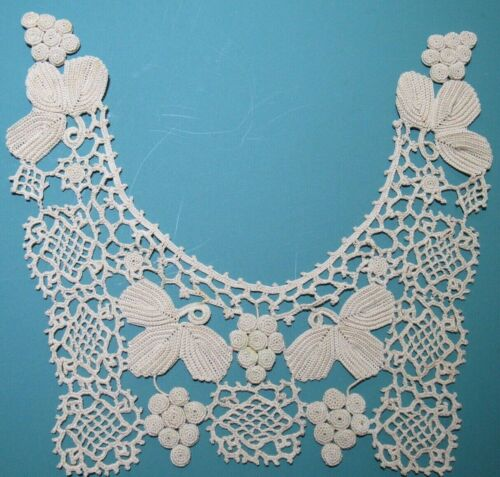 ANTIQUE FRENCH HAND CROCHETED INTRICATE COLLAR FIGURAL GRAPES DRESS FRONT