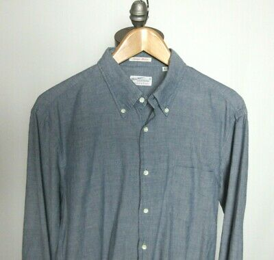 GANT Rugger Selvage Madras Chambray Blue L/S Button Up Shirt Sz L