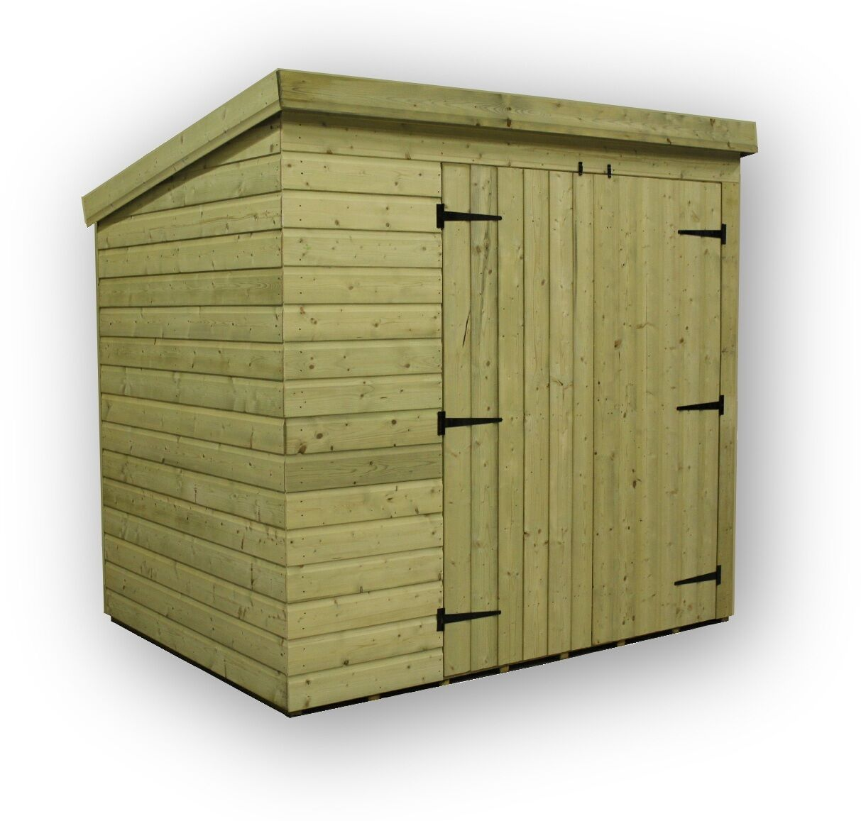 garden shed 7x6 pent roof pressure treated tongue and groove double door right - Garden Sheds 7x6