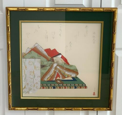 Japanese Silk Scroll of the Thirty-six Poetic Geniuses Signed by Artist