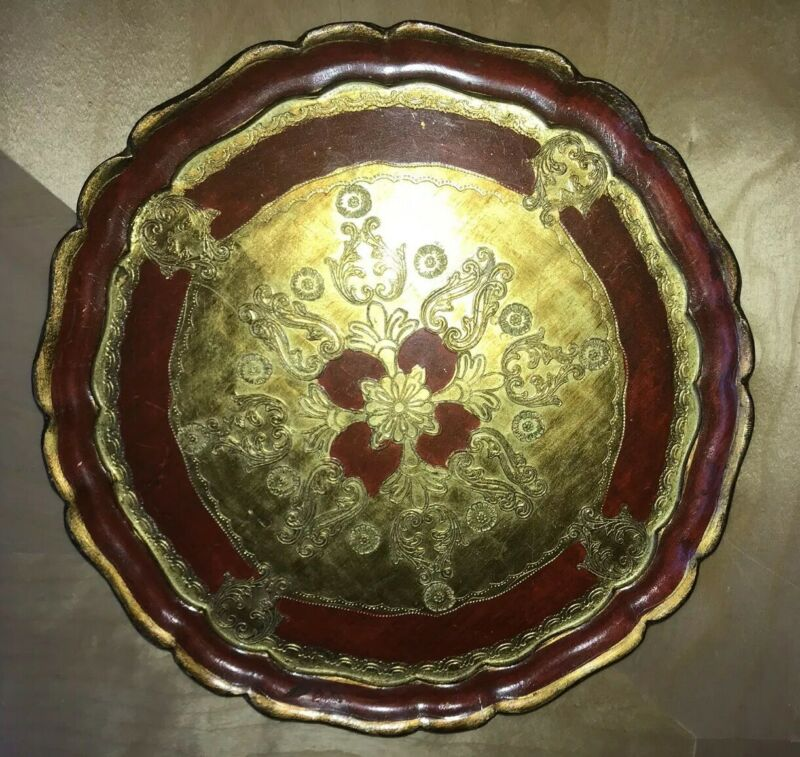 Vintage Italian Hand Made Painted Red Gold Gilt Wood Tray Aram 1960