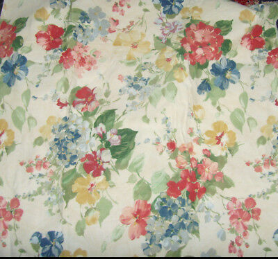"Beautiful upholstery fabric  55x35"" red yellow and blues wildflower bouquets"
