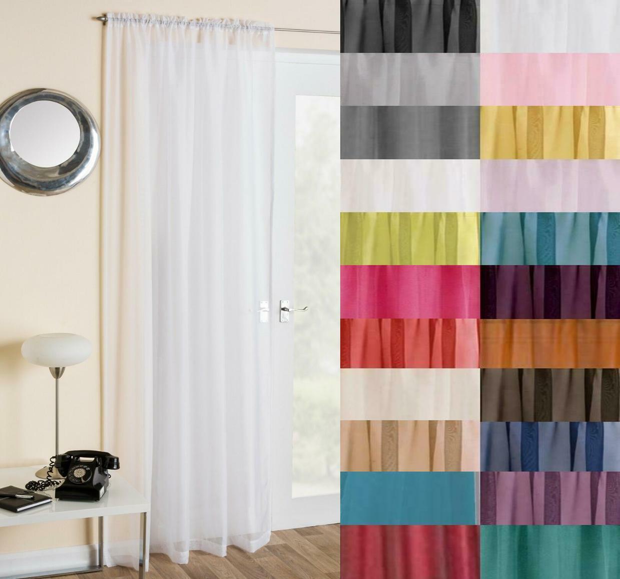 Traditional Slot Top Plain Door Window Curtain Trent Net Voile Panel 17 COLOURS