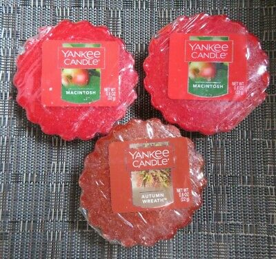 3 NOS Yankee Candle Wax Tart Lot - Macintosh Apple & Autumn Wreath