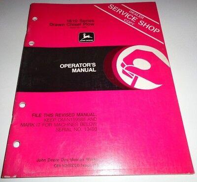 John Deere 1610 Series Drawn Chisel Plow Operators Owners Manual Original Jd