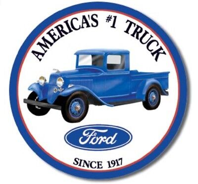 Ford Truck Round Metal Tin Sign Americas #1 Since 1917 Garage Bar Man Cave -